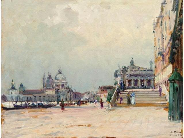 Jean-Baptiste Olive (1848-1936). Venise, la place Saint-Marc, 1893
