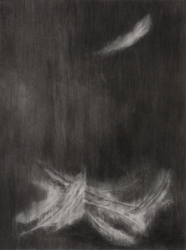 Suspended, fusain, graphite et cendres sur papier, approx. 45x65, 2015. © Jean-Louis Micha.