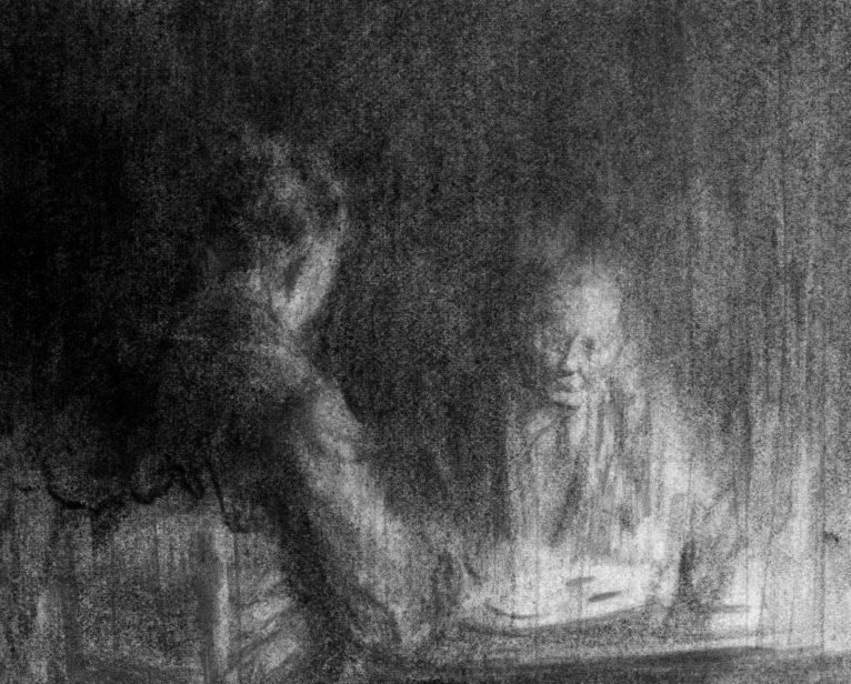 Une hypothèse accommodante, fusain, graphite et cendres sur papier, approx. 8x12,5 (2014). © Jean-Louis Micha.